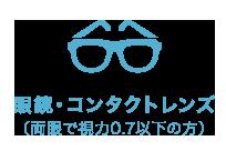 眼鏡・コンタクトレンズ(両眼で視力0.7以下の方)